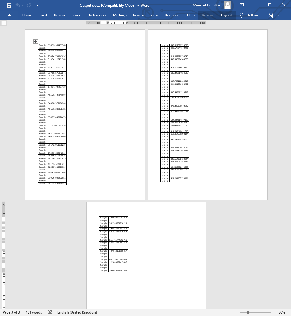 Word document with a single Table that occupies multiple pages